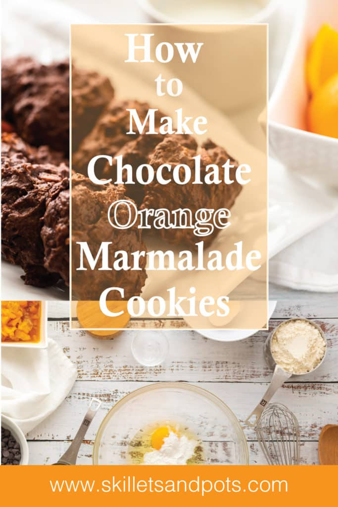 Chocolate Chip Cookies with Orange Marmalade with oranges on a plate with its ingredients