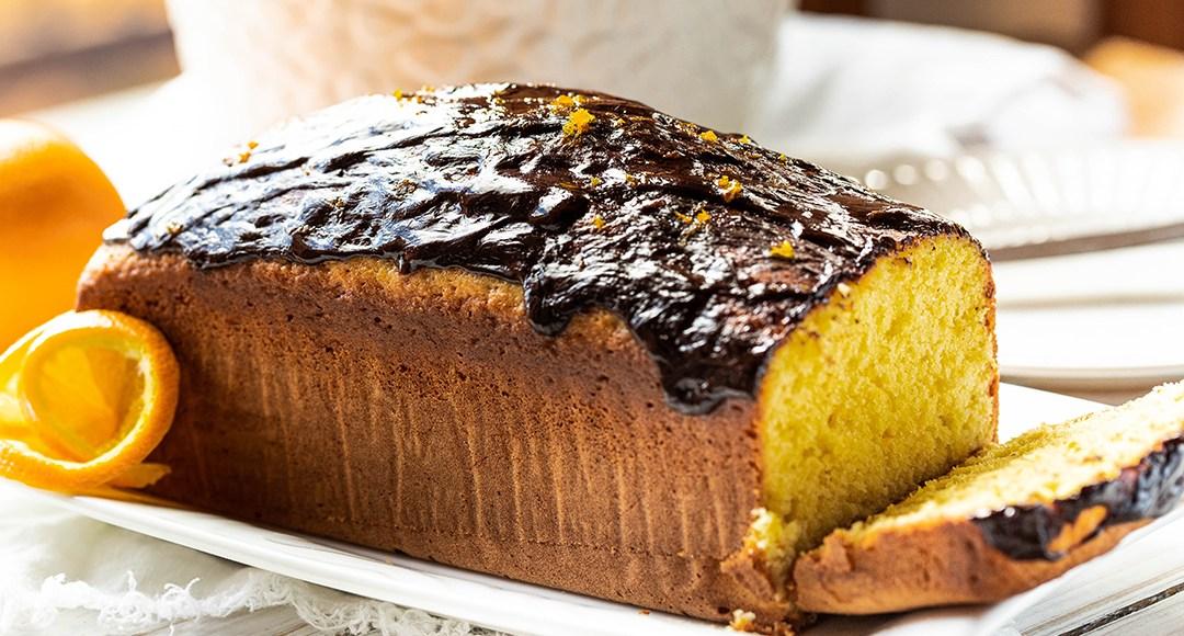 A slice of an orange cake