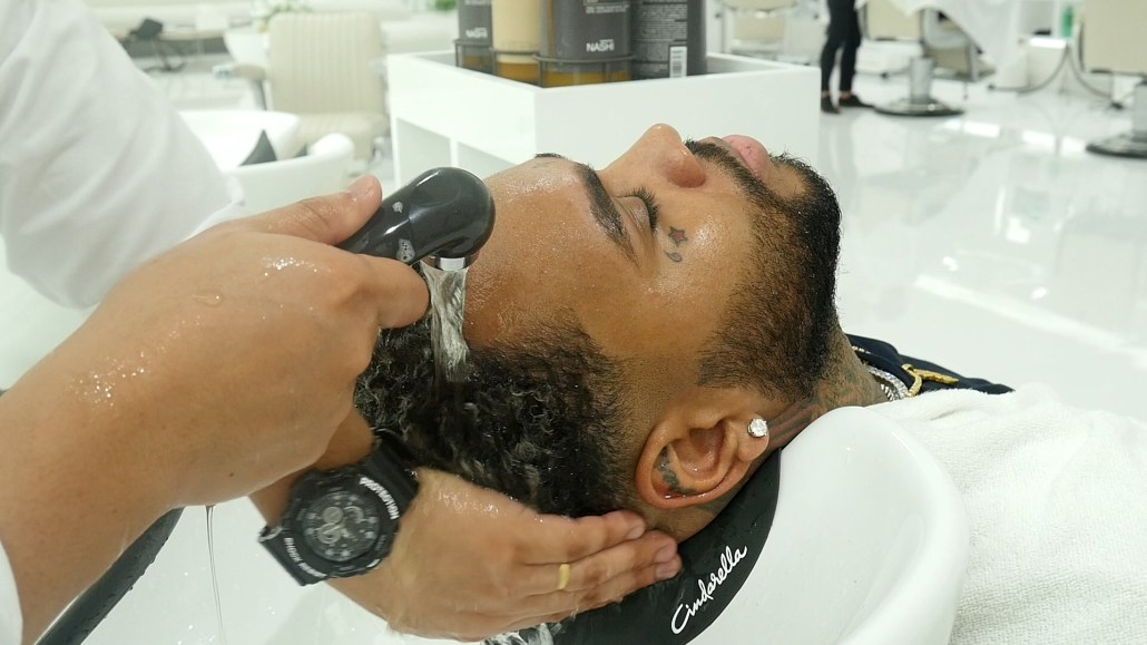 Washing Hair Kevin Gates in Dubai at SKILLS Barbershop