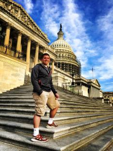 Cody Larios, from SkillsUSA Idaho, posed in front of the Capitol Building.