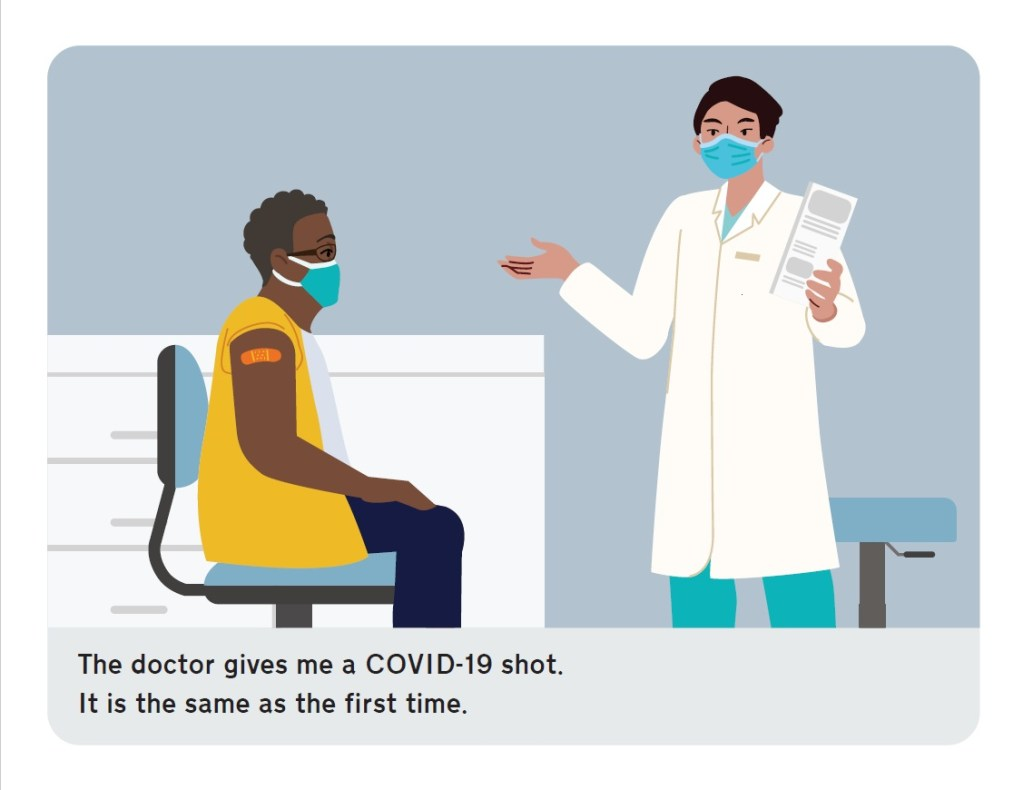 The doctor gives me a COVID-19 shot. It is the same as the first time.