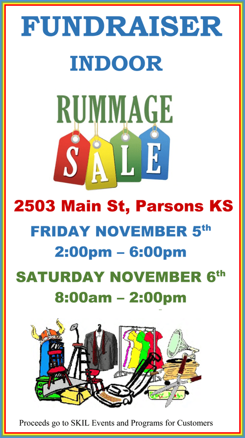 Flyer reading FUNDRAISER INDOOR RUMMAGE SALE. 2503 Main St, Parsons KS. Friday November 5th 2:00 to 6:00 P.M. Saturday November 6th, 8:00 A.M. to 2:00 P.M. Cartoon image on bottom of flyer with a Viking helmet placed on a red chair, a clothing rack with suits and dresses, an old-time record player.