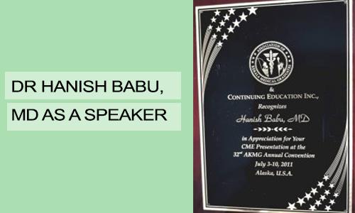 Dr Hanish Babu, MD as a Speaker