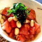 【美肌レシピ】即席副菜!トマトと大豆のめんつゆ和え