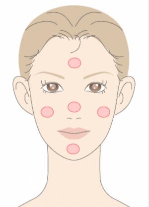 崩れない化粧下地の使い方ステップ3:量頬、額、鼻、顎の5箇所に分けて化粧下地をつける