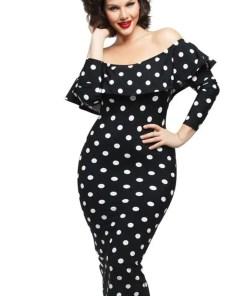 Black Polka Dot Ruffle Off shoulder Neckline Long Sleeves Dress LC61220 2 3 Black Polka Dot Ruffle Dress