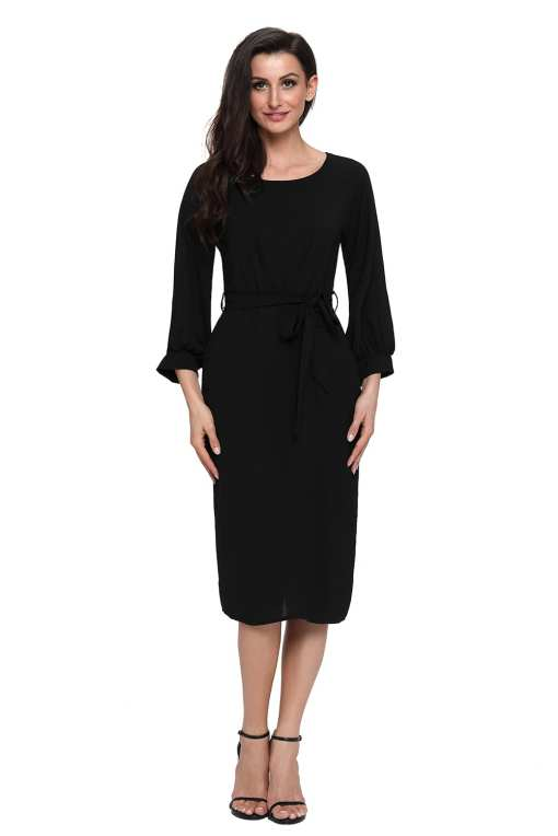 Black Puff Sleeve Belt Chiffon Pencil Dress LC61691 2 4 Copy 2 1 Puff Sleeve Belt Chiffon Pencil Dress