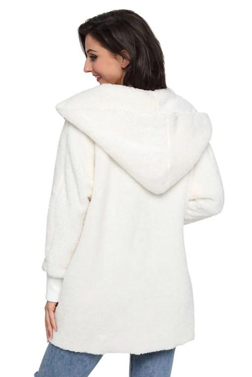 LC85111 1 7 Beautiful Soft Fleece Hooded Open Front Coat
