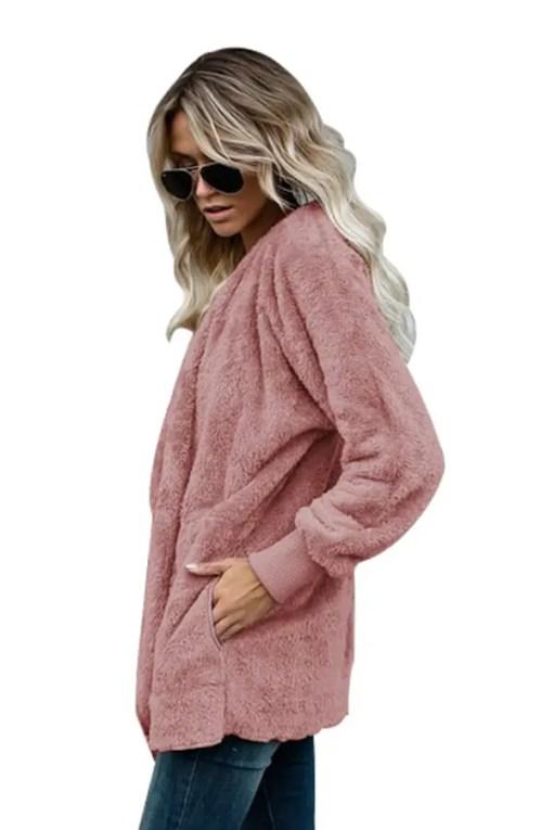 LC85111 10 1 Beautiful Soft Fleece Hooded Open Front Coat