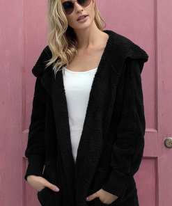 LC85111 2 4 Beautiful Soft Fleece Hooded Open Front Coat