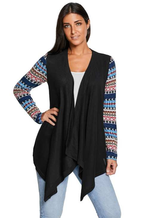 LC85170 2 0 Simple Waterfall Patchwork Long Sleeve Oversize Coat