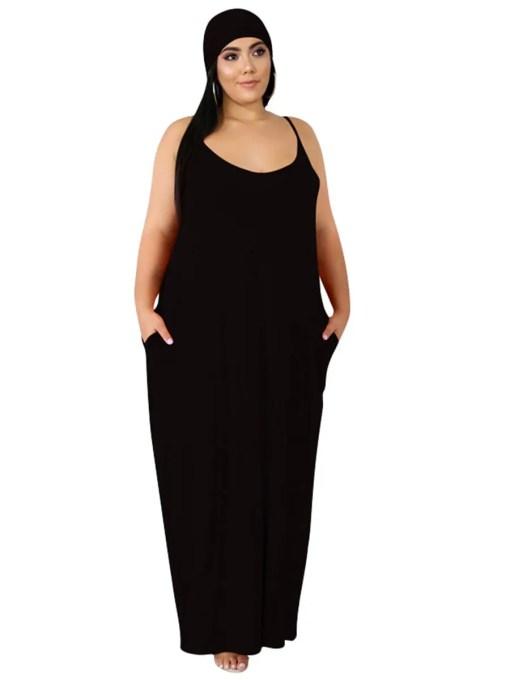 Comfortable Side Pocket Queen Size Dress Tie Women's Fashion