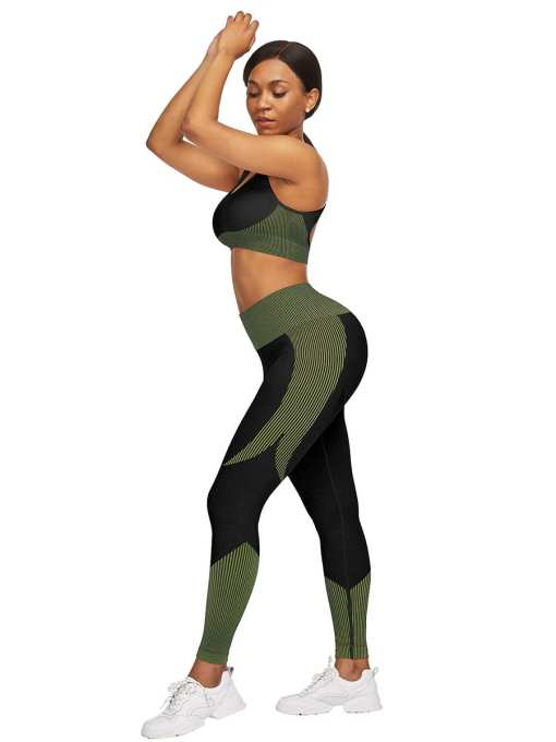 YD200306 GN1 3 Athletic and Fabulous  Strap Crop Top High Waist Leggings