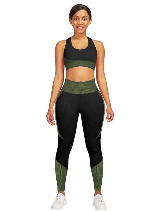 YD200306 GN1 Athletic and Fabulous Strap Crop Top High Waist Leggings