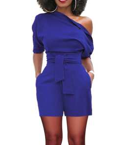 Sophisticated Ultra Fresh One Off Shoulder Side Pocket Zipper Romper