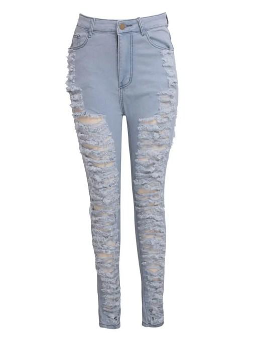 Shredded High Waist Stretch Ripped Denim Pants Slim