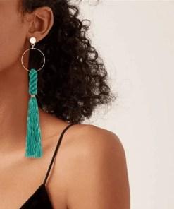 Earrings Long Teal Tassel Earrings
