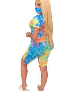 Comfortable Surprising Shorts Suit With Mask Tie-Dyed For Lounging