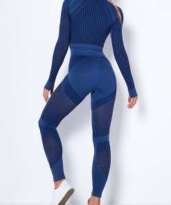 YD200116 BU2 7 Comfortable Deep Blue Splice Thumbhole Yoga Top Seamless Legging