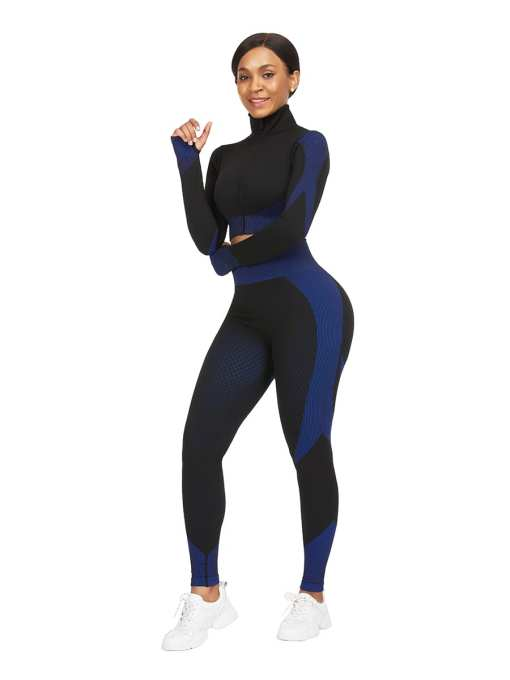 Chic Incredibly Thumbhole Zipper Contrast Color Yoga Suit