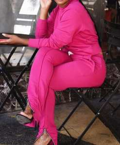 Trendy Smooth Plain Full Length Two Pieces Sweat Suit Women Ou