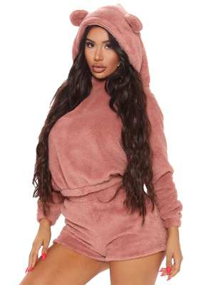 Cute Hooded Neck Ear Shorts Two Piece Outfit Going Out Outfits