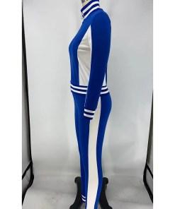 VZ200551 BU1 4 Hot Athletic Suit Zipper Color block Ankle Length