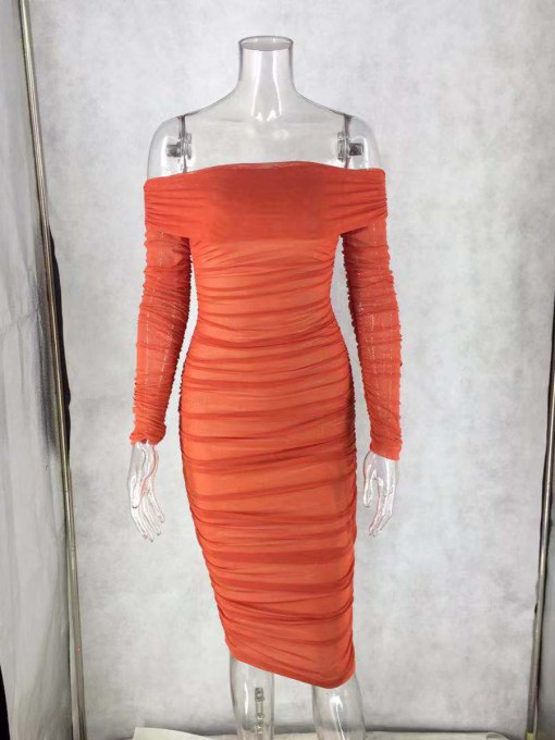 Classic Full Sleeve Bare Shoulder Midi Dress Luscious Curvy