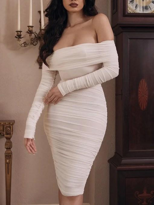 VZ200571 WH1 2 Classic White Full Sleeve Bare Shoulder Midi Dress Luscious Curvy