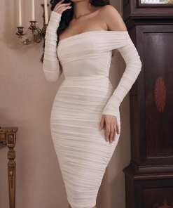 Classic Full Sleeve Bare Shoulder Midi Dress Luscious Curvy