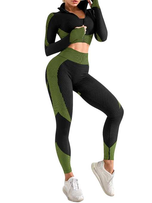 3 Pcs Sports Suit Solid Color Ankle Length Fashion