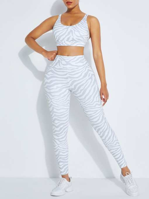 Chic White snake Pattern High Rise Racerback Sweat Suit For Workout