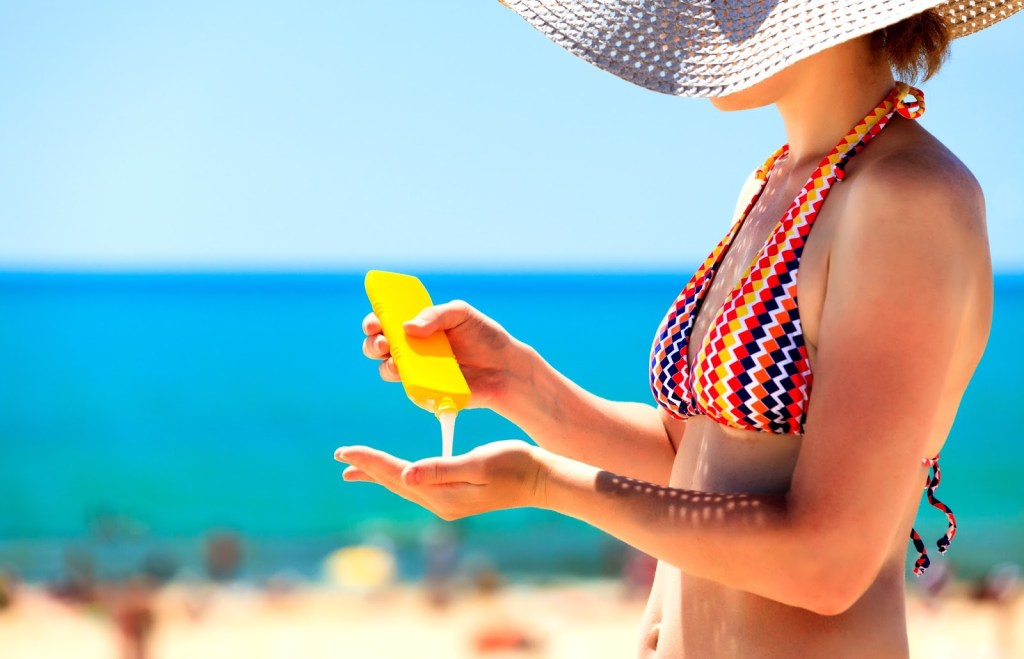 Sunscreen application, beach, skin deep, skin care