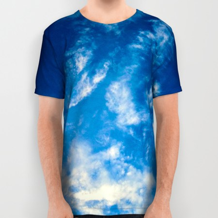 clouds all over print t-shirt