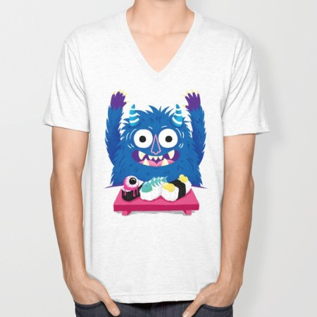 i heart sushi, monster vneck tshirt