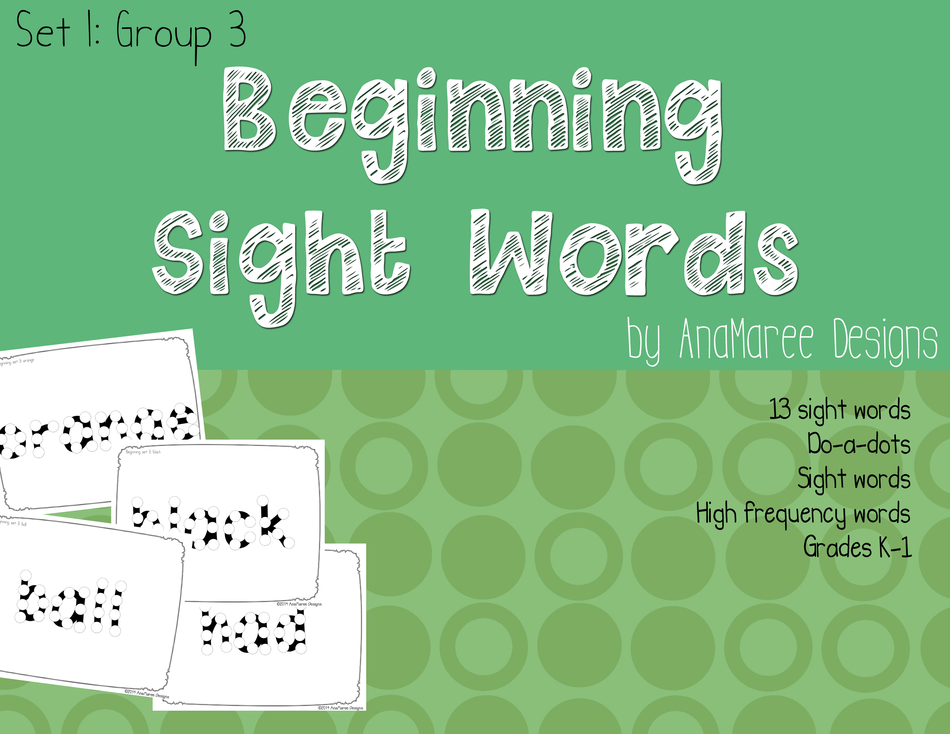 Sight Words Set 1 Group 3 Anamaree Designs