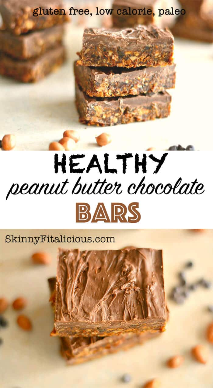 Peanut Butter Chocolate Chip Bars - Skinny Fitalicious