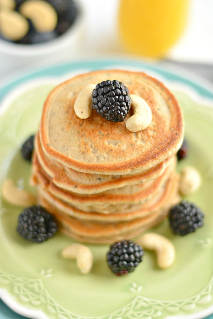 Thick, hearty Cashew Chia Pancakes bursting with creamy, nutty flavors and packed with omega-3 nutrition. This is what pancakes dreams are made of!
