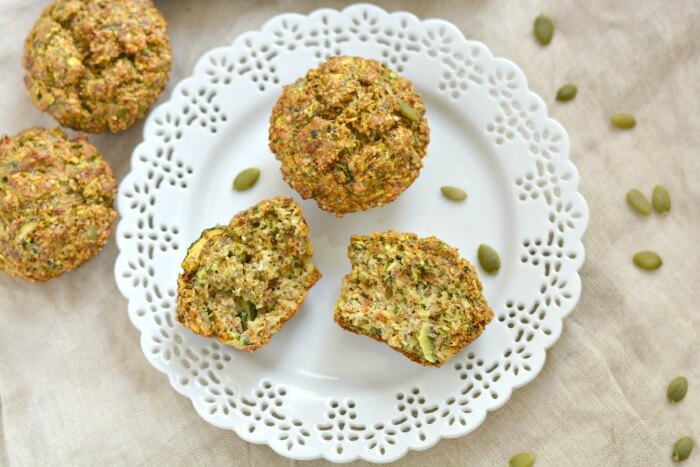 Savory Pumpkin Zucchini Sundried Tomato Biscuits made with pumpkin seeds & flax. An omega-3 Paleo and Gluten Free bread that can be served as a healthy side or snack.