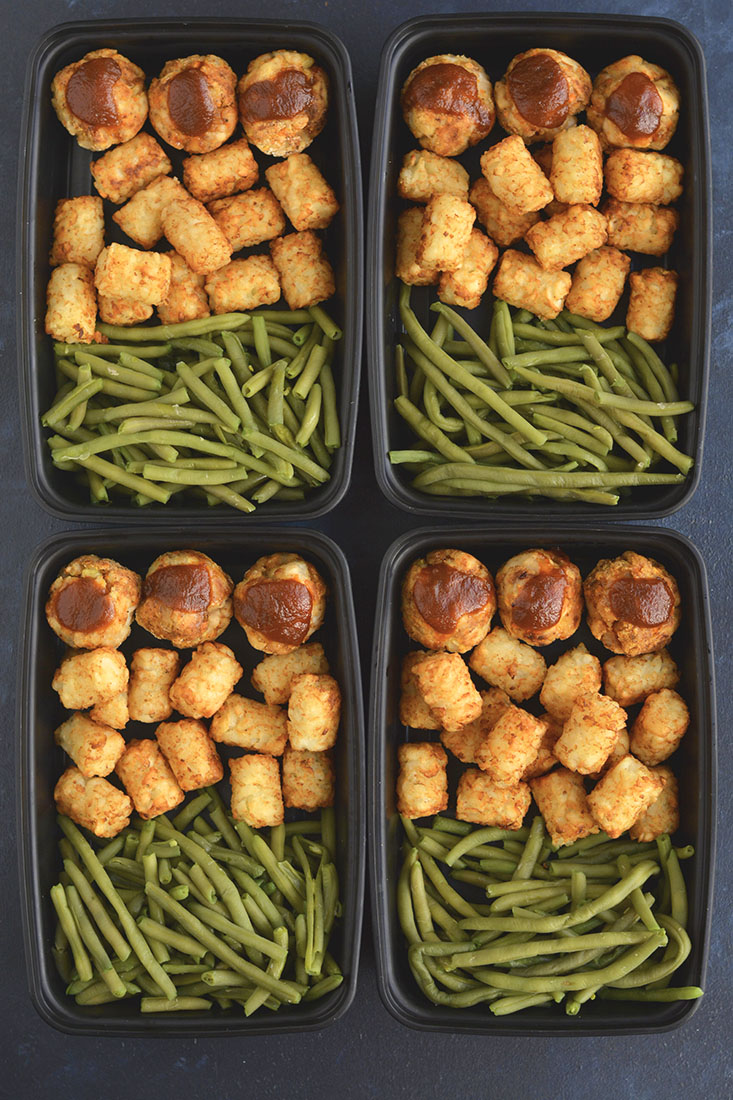 Meal Prep BBQ Meatballs in Muffin Tins! Easy, oven baked turkey meatballs with veggies, potato flour and BBQsauce. Made in mini muffin tins for a simplepre-portioned meal prep meal! Gluten Free + Paleo + Low Calorie