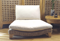 Natural Seagrass Meditation Chair with Cream Cushions ...