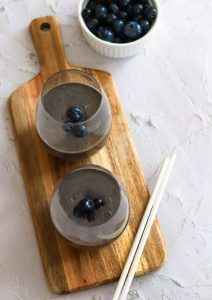Enjoy this blueberry and banana smoothie for breakfast, lunch, or even for a healthy snack!