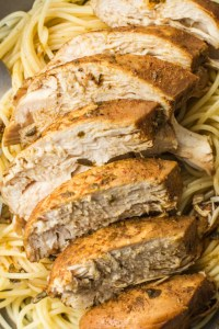 There are several different ways to serve this delicious chicken, but it goes especially well with pasta!