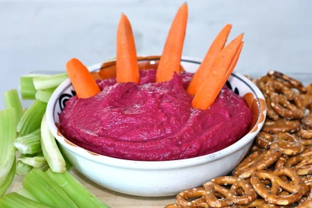 Blood Red Beet Hummus with Carrot Fingers