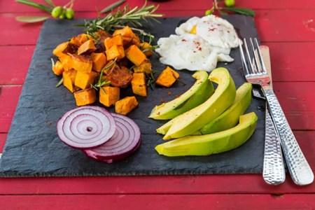 Roasted Sweet Potatoes, Poached Eggs, & Avocado