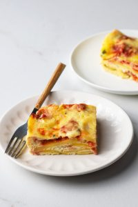 Our breakfast casserole is full of delicious flavors and made from nutritious ingredients.