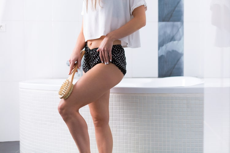 Dry brushing removes dead skin cells and increases blood circulation. and work on shrinking your pores for healthier skin!