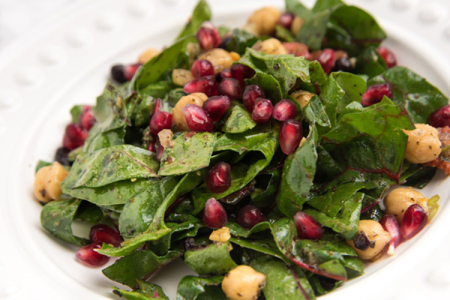Wilted Chard, Chickpea, and Pomegranate Salad