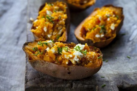 Twice Baked Sweet Potatoes with Feta and Chives