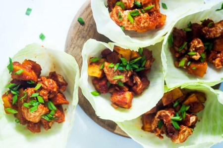 Sweet Potato and BBQ Chicken Lettuce Wrap